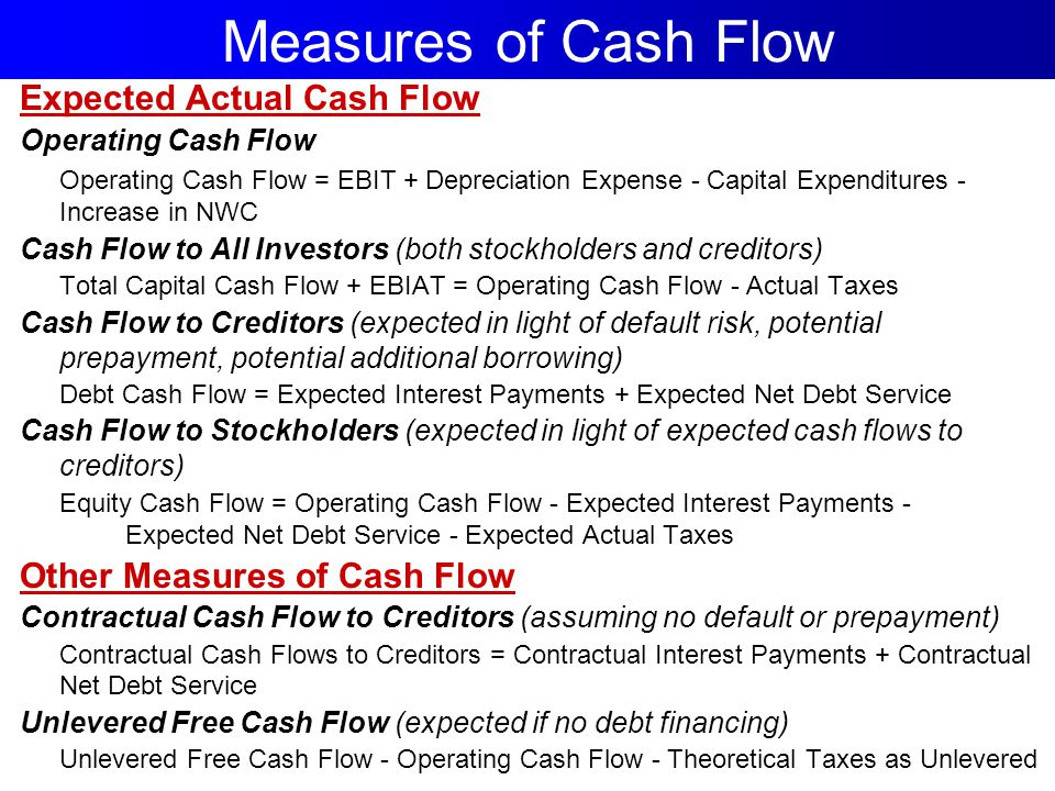 Measures of Cash Flow Expected Actual Cash Flow