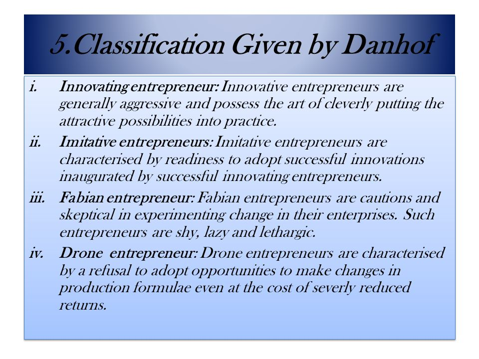 5.Classification Given by Danhof