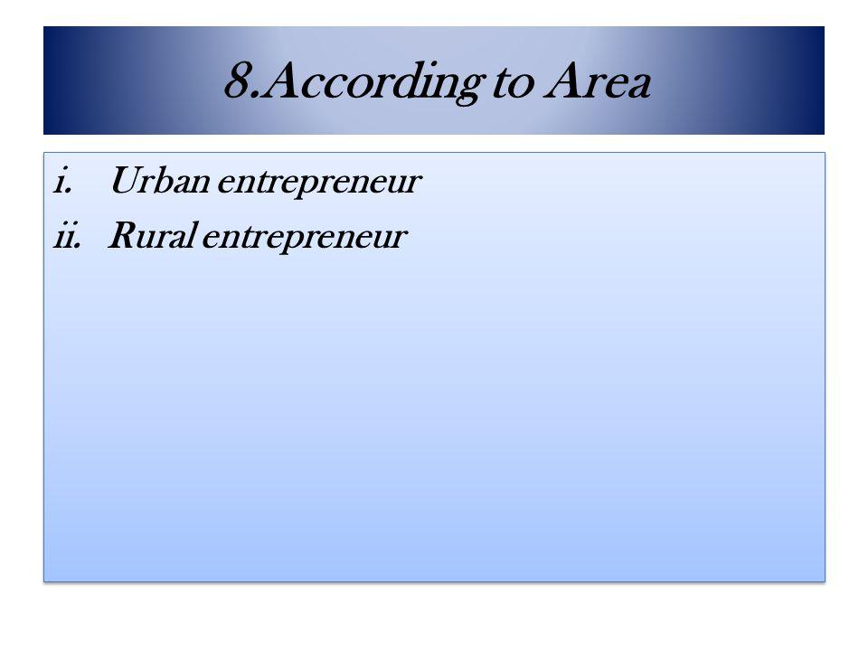 8.According to Area Urban entrepreneur Rural entrepreneur