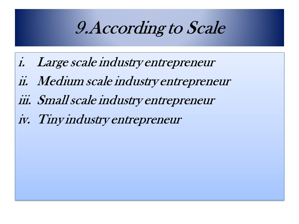 9.According to Scale Large scale industry entrepreneur