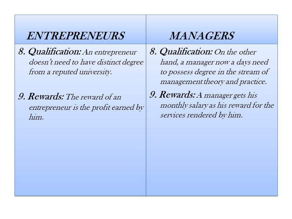 ENTREPRENEURS MANAGERS