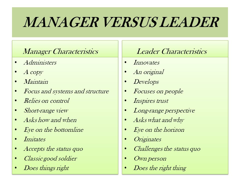 MANAGER VERSUS LEADER Manager Characteristics Leader Characteristics