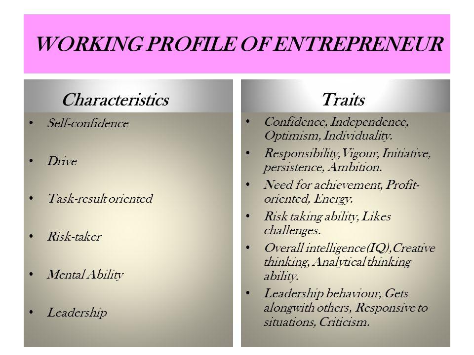 WORKING PROFILE OF ENTREPRENEUR