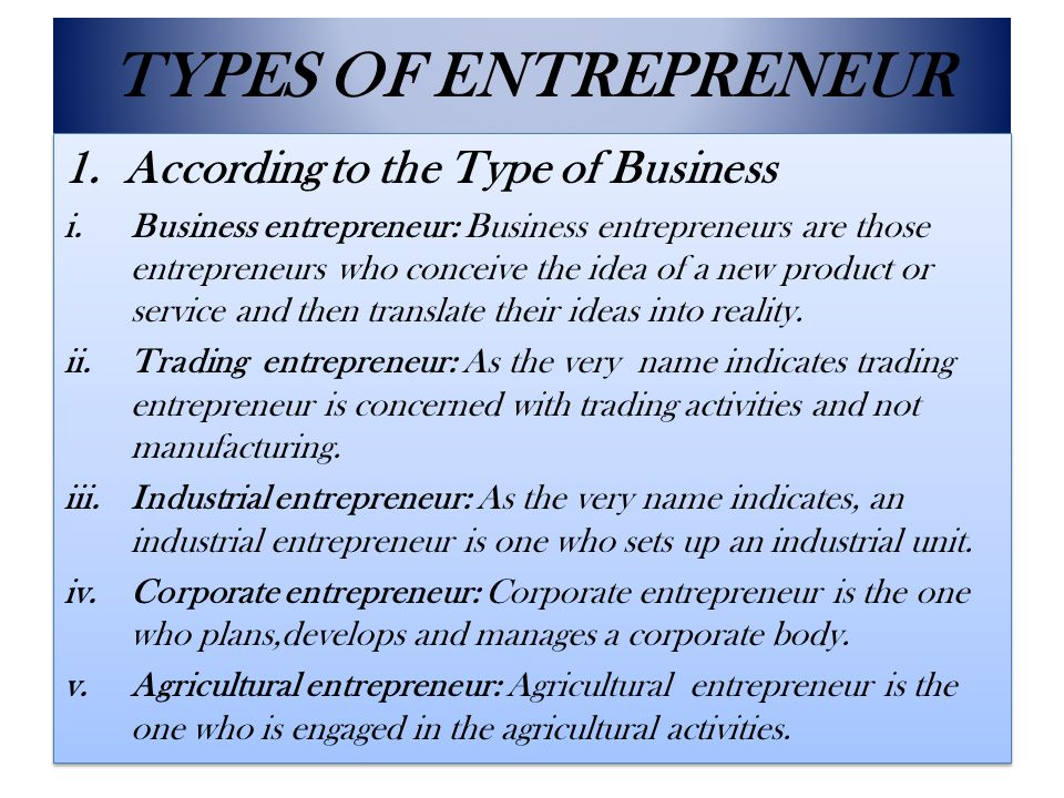 TYPES OF ENTREPRENEUR According to the Type of Business