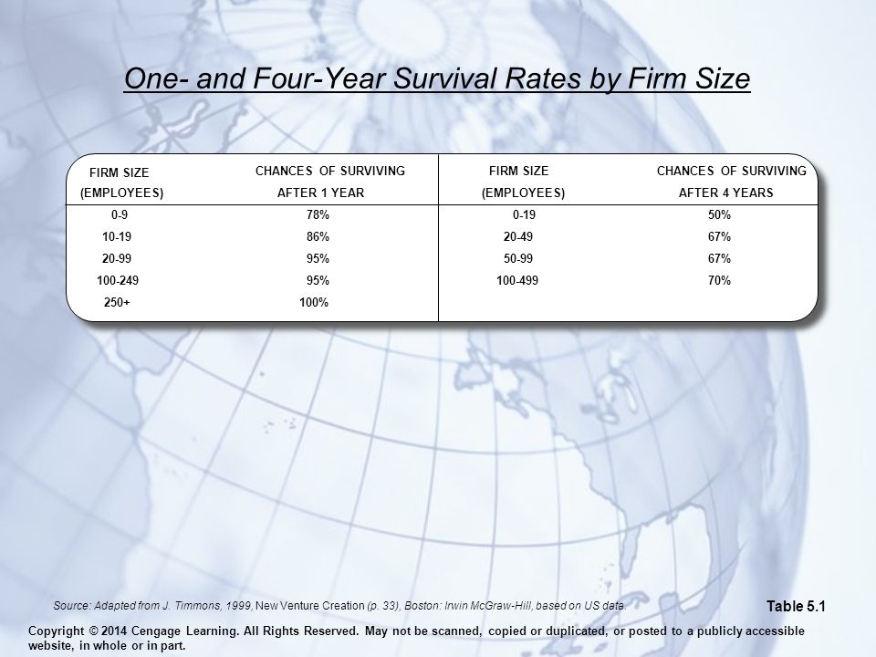 One- and Four-Year Survival Rates by Firm Size