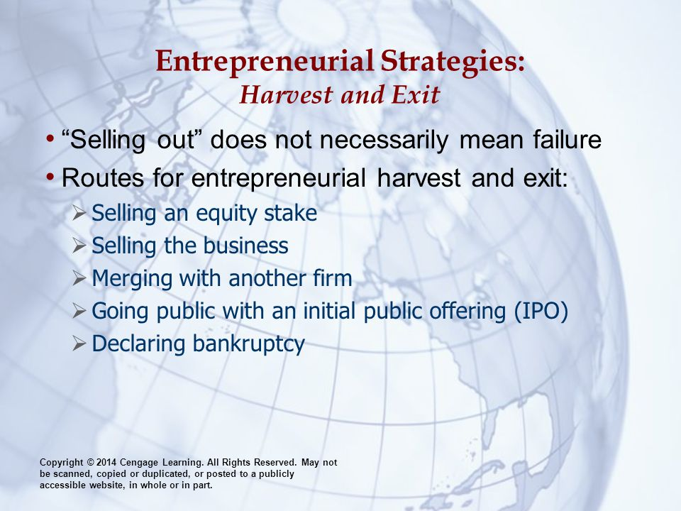 Entrepreneurial Strategies: Harvest and Exit