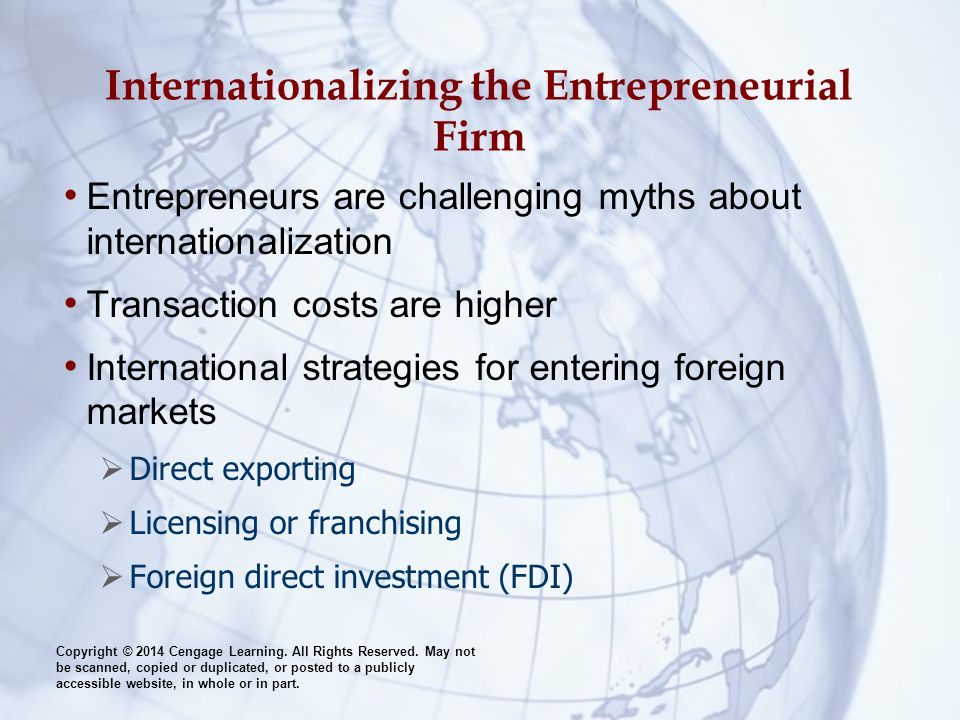 Internationalizing the Entrepreneurial Firm