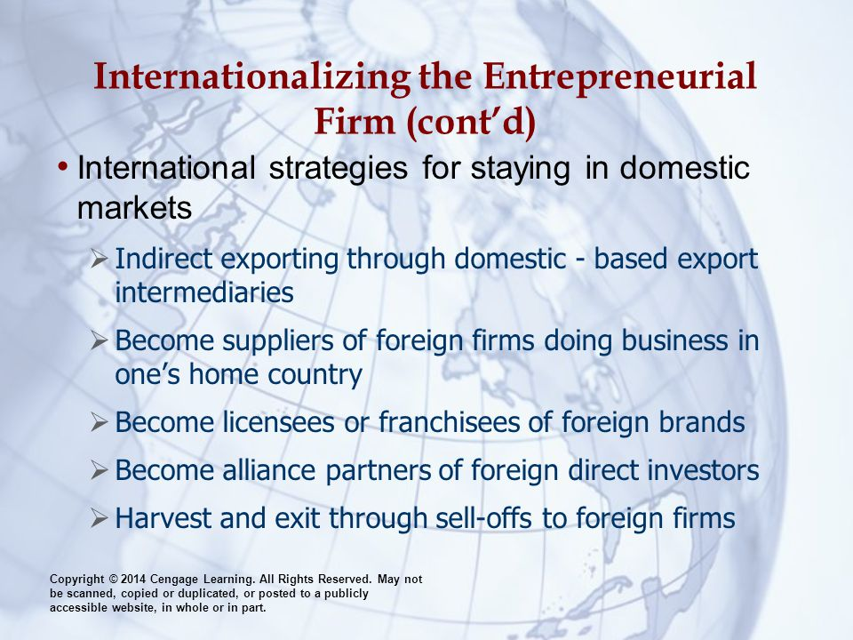 Internationalizing the Entrepreneurial Firm (cont'd)