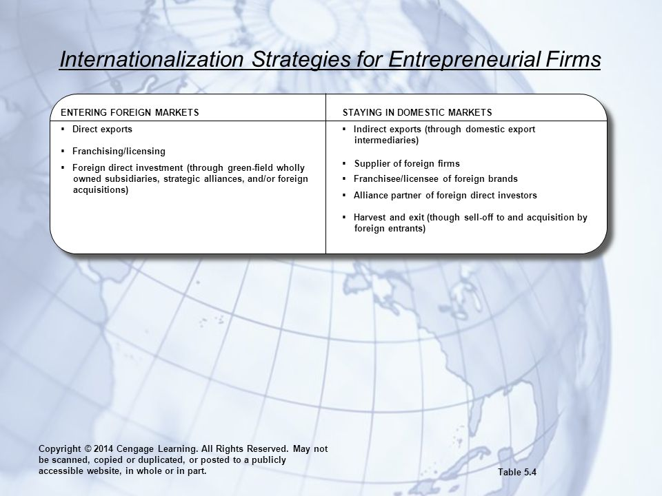 Internationalization Strategies for Entrepreneurial Firms