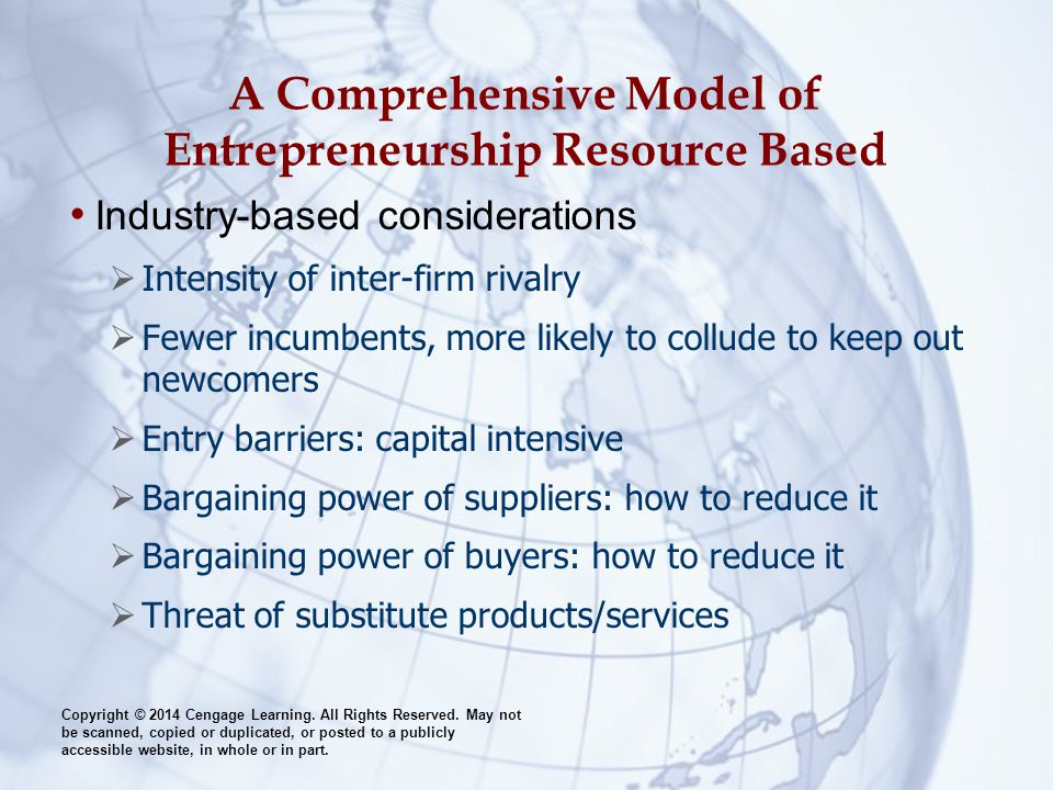 A Comprehensive Model of Entrepreneurship Resource Based