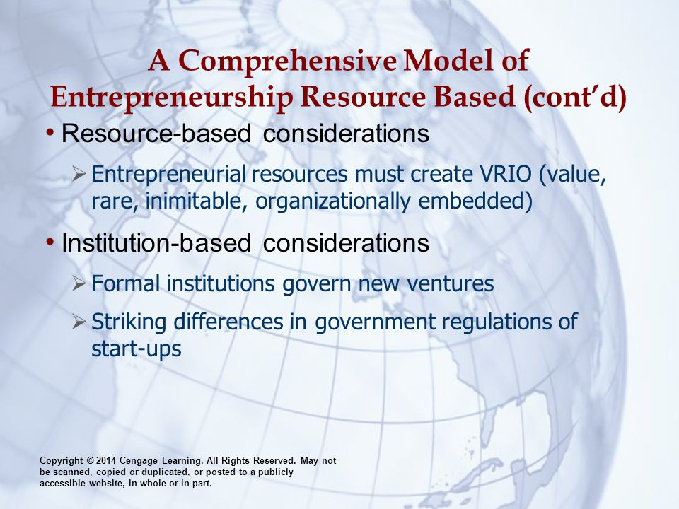 A Comprehensive Model of Entrepreneurship Resource Based (cont'd)