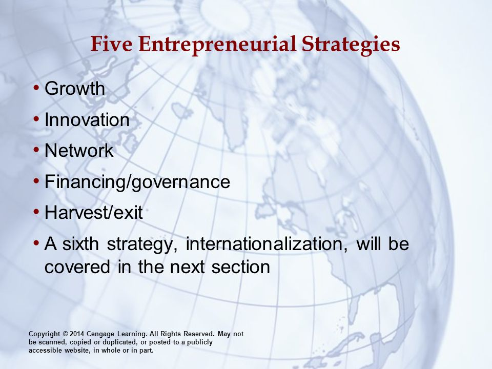 Five Entrepreneurial Strategies