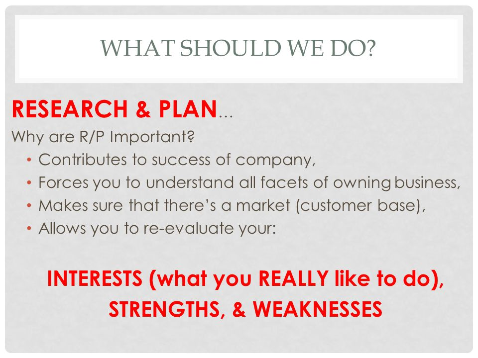 INTERESTS (what you REALLY like to do), STRENGTHS, & WEAKNESSES