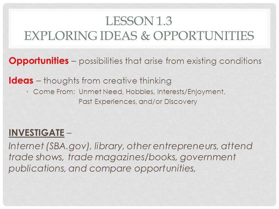 Lesson 1.3 Exploring Ideas & Opportunities