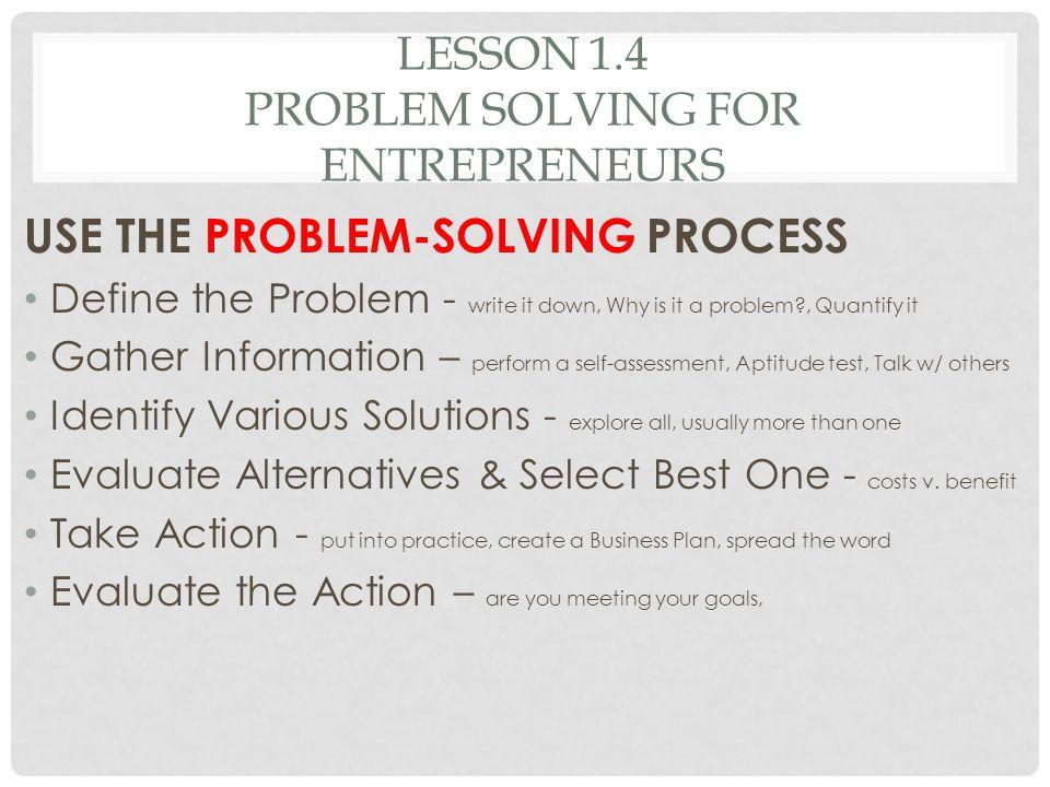 Lesson 1.4 Problem solving for entrepreneurs