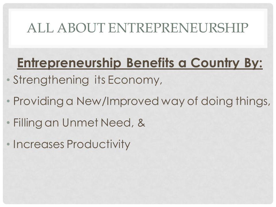 All about Entrepreneurship