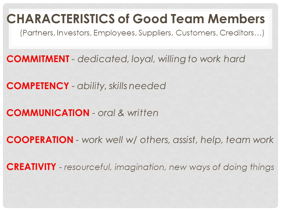(Partners, Investors, Employees, Suppliers, Customers, Creditors…)