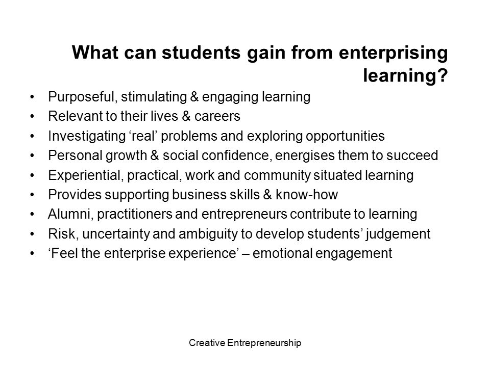 What can students gain from enterprising learning
