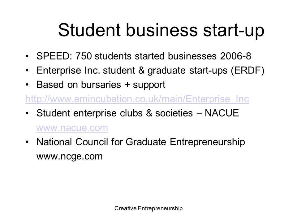 Student business start-up