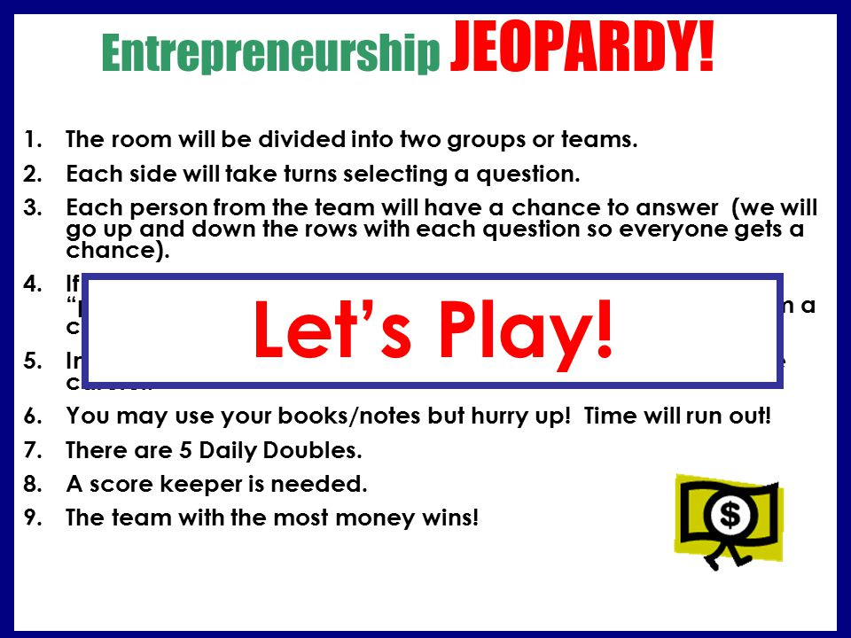 Entrepreneurship JEOPARDY!