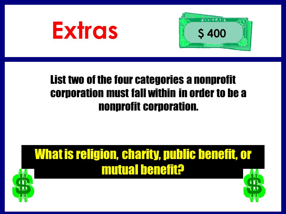What is religion, charity, public benefit, or mutual benefit