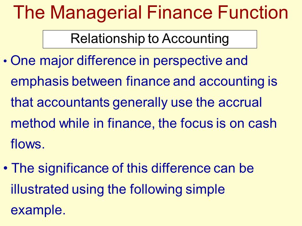 The Managerial Finance Function