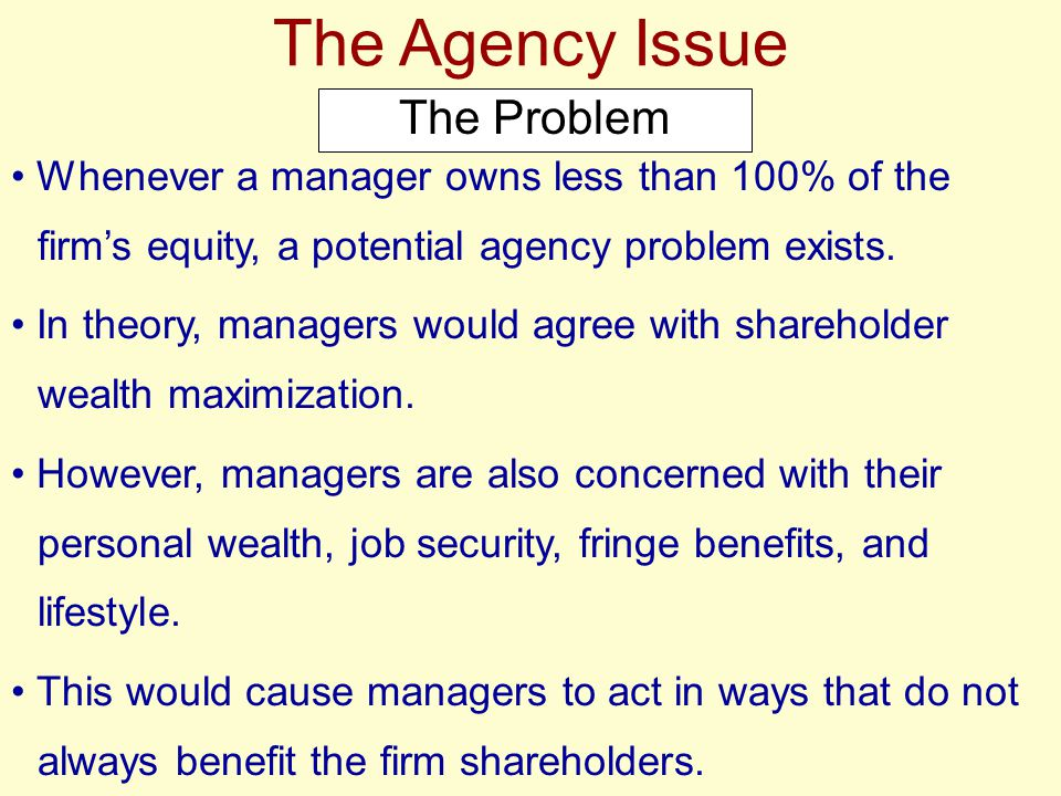 The Agency Issue Resolving the Problem
