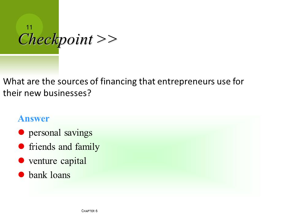 Checkpoint >> What are the sources of financing that entrepreneurs use for their new businesses Answer.