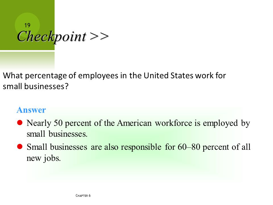 Checkpoint >> What percentage of employees in the United States work for small businesses Answer.