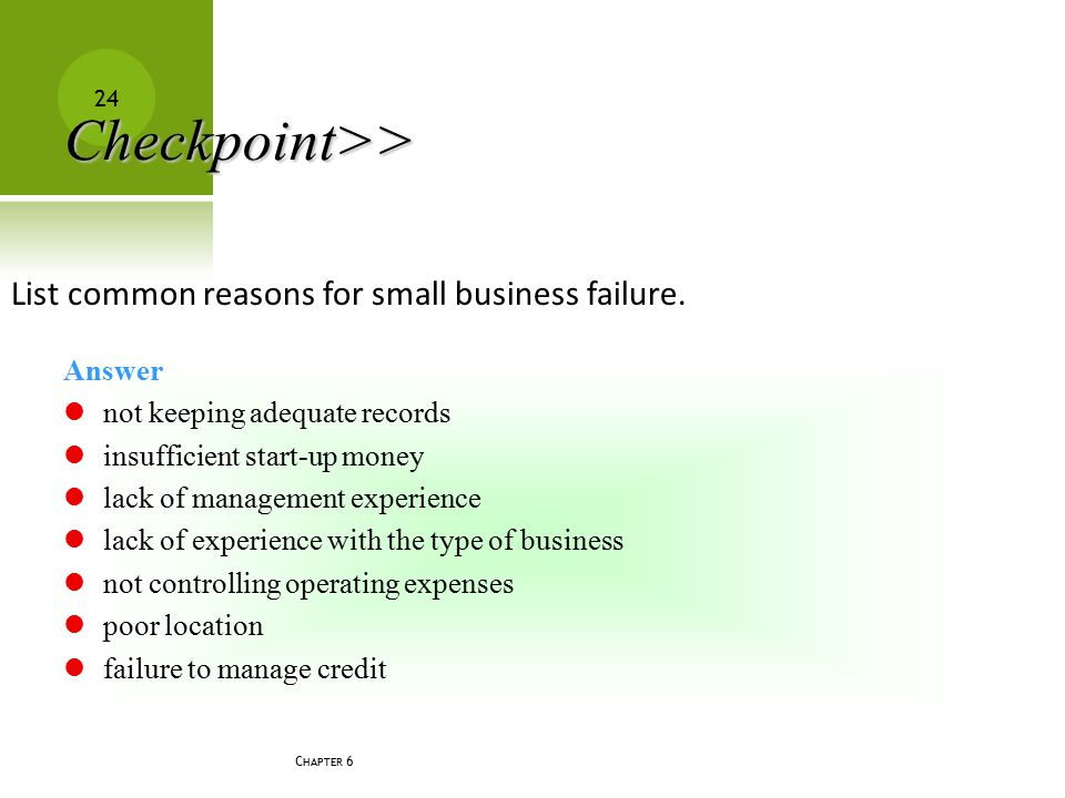 Checkpoint>> List common reasons for small business failure.