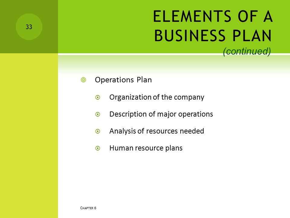 ELEMENTS OF A BUSINESS PLAN
