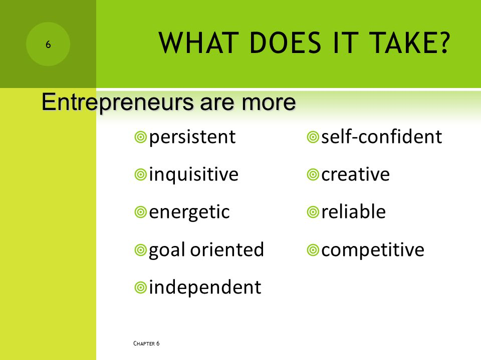 WHAT DOES IT TAKE Entrepreneurs are more persistent inquisitive