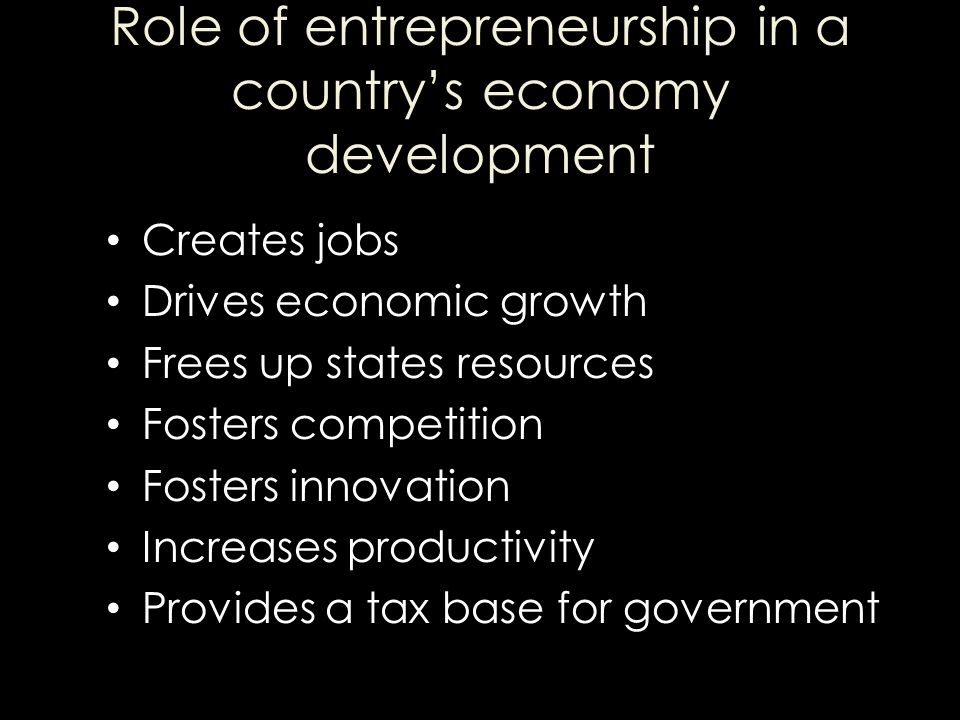 Role of entrepreneurship in a country's economy development