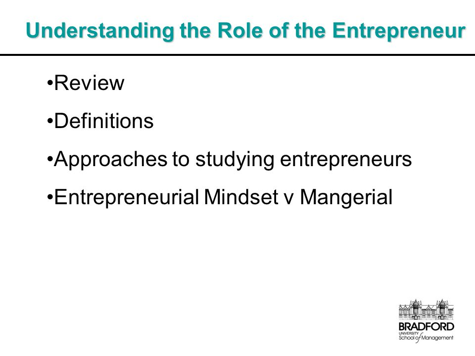 Understanding the Role of the Entrepreneur