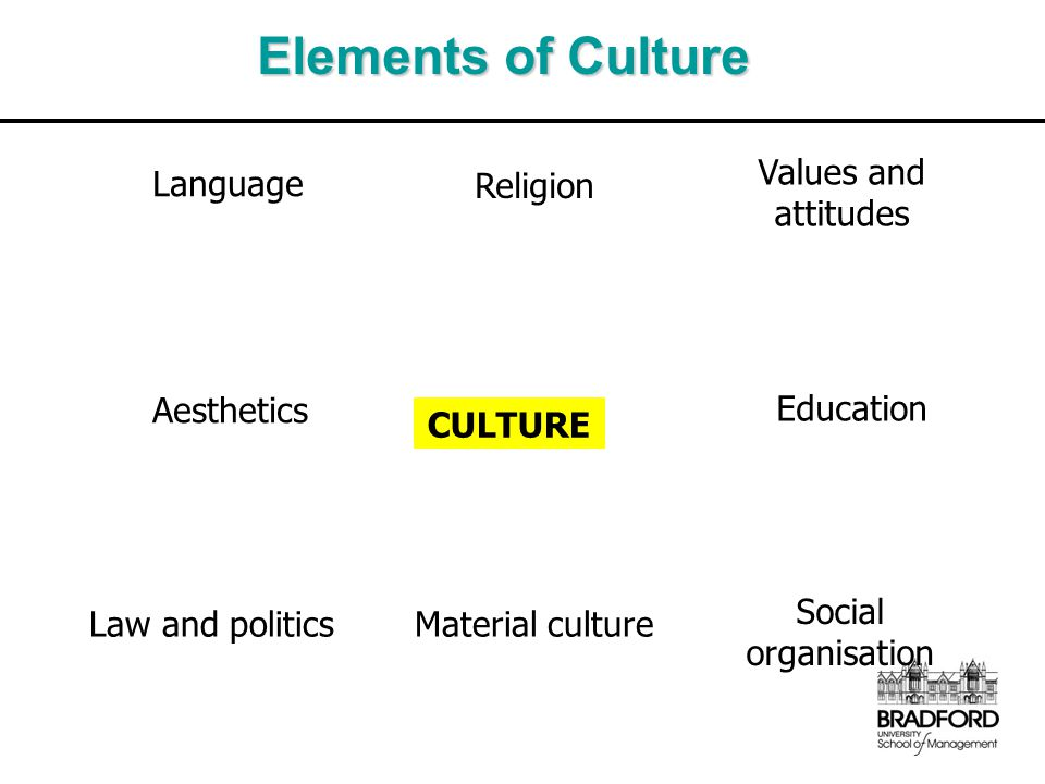 Elements of Culture Language Religion Values and attitudes Education