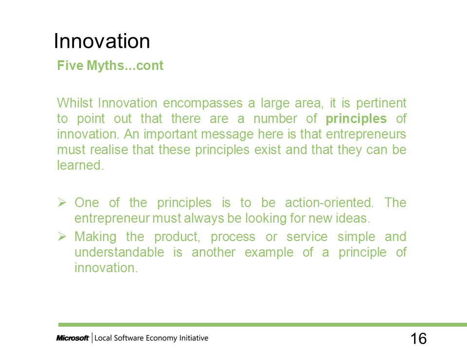 Innovation Five Myths...cont