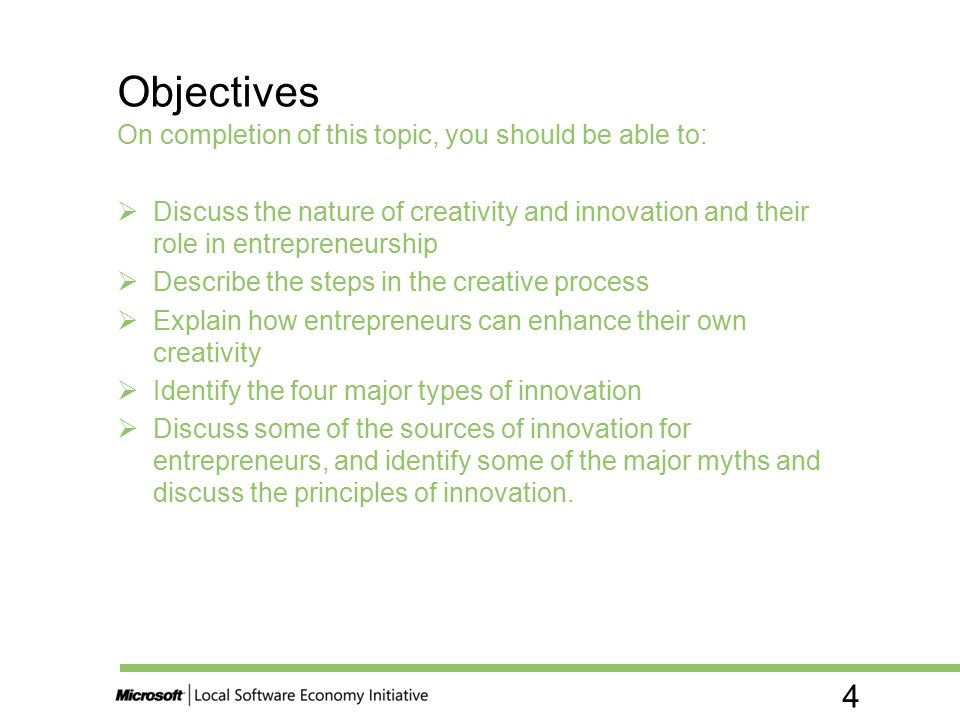 Objectives On completion of this topic, you should be able to: