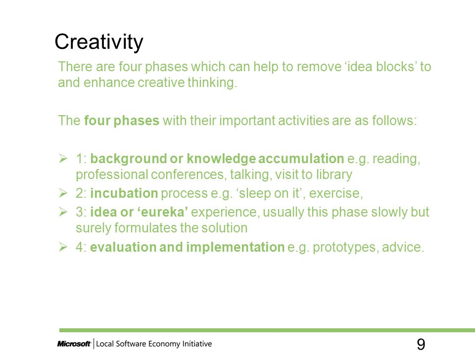 Creativity There are four phases which can help to remove 'idea blocks' to and enhance creative thinking.