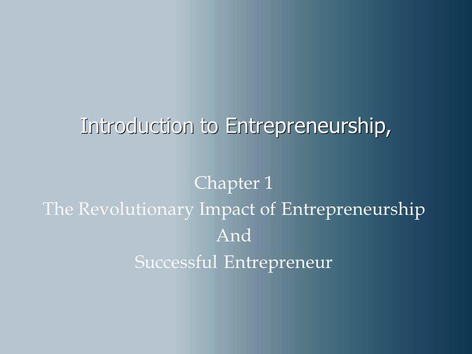 Introduction to Entrepreneurship,