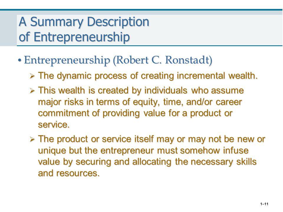 A Summary Description of Entrepreneurship