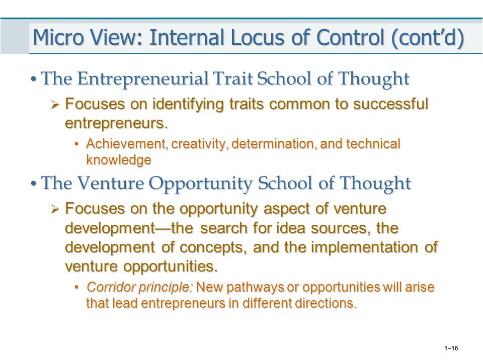 Micro View: Internal Locus of Control (cont'd)