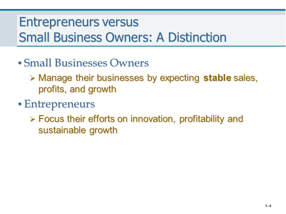 Entrepreneurs versus Small Business Owners: A Distinction