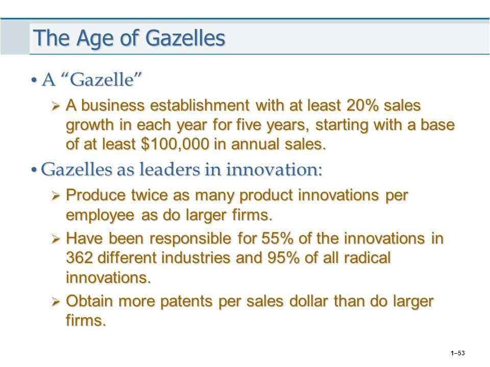 The Age of Gazelles A Gazelle Gazelles as leaders in innovation: