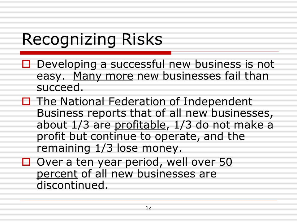 Recognizing Risks Developing a successful new business is not easy. Many more new businesses fail than succeed.