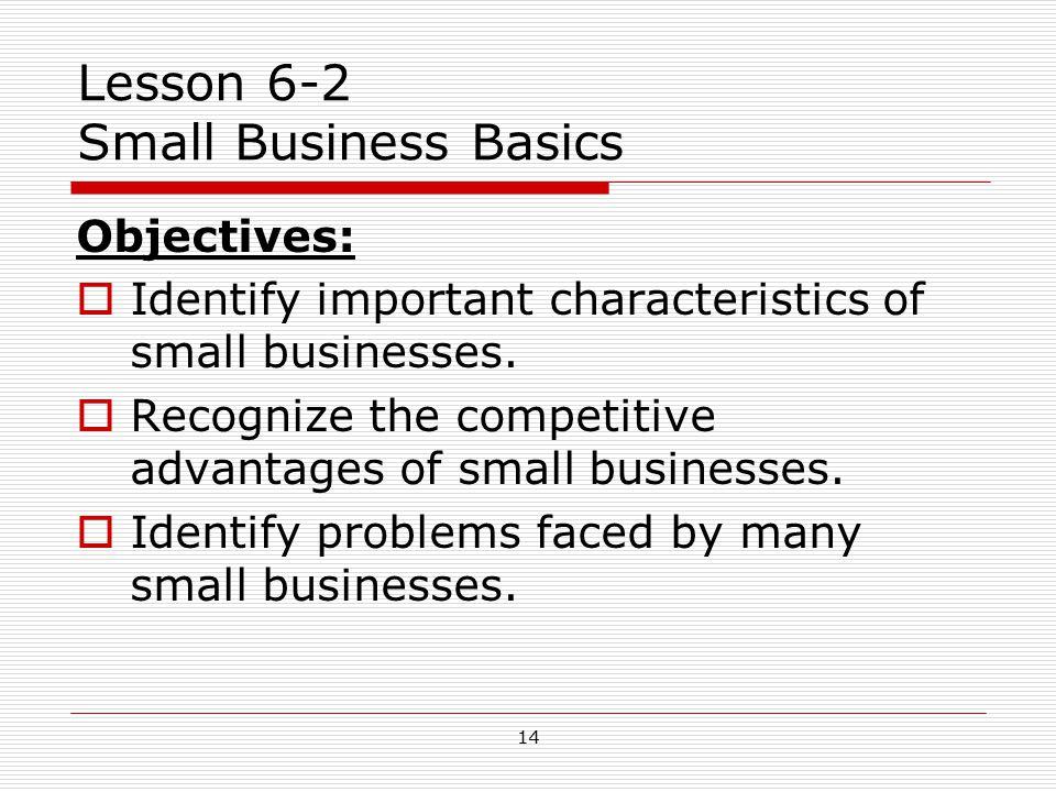 Lesson 6-2 Small Business Basics