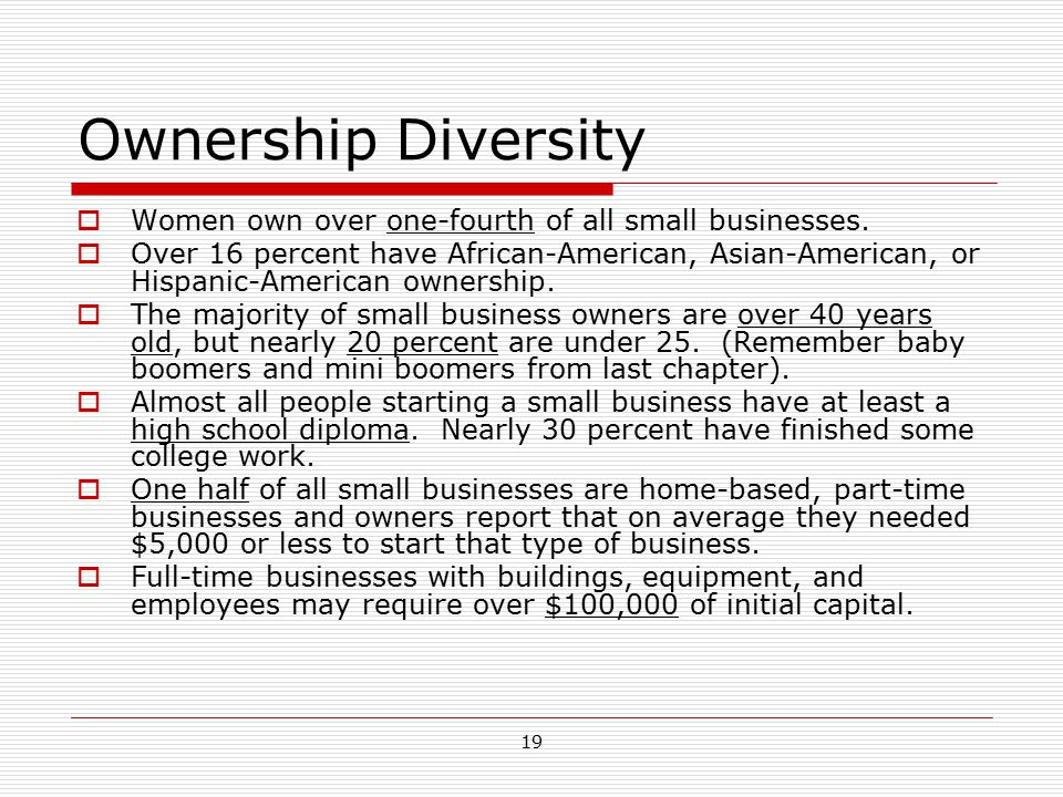 Ownership Diversity Women own over one-fourth of all small businesses.