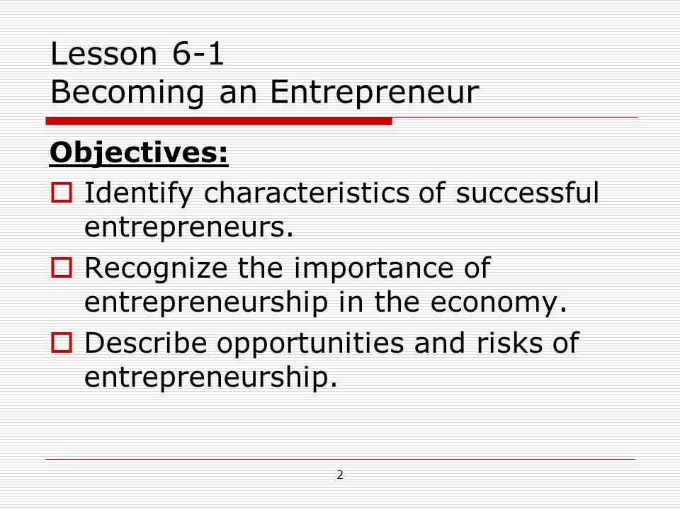 Lesson 6-1 Becoming an Entrepreneur