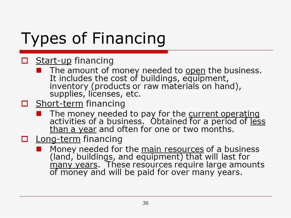 Types of Financing Start-up financing Short-term financing