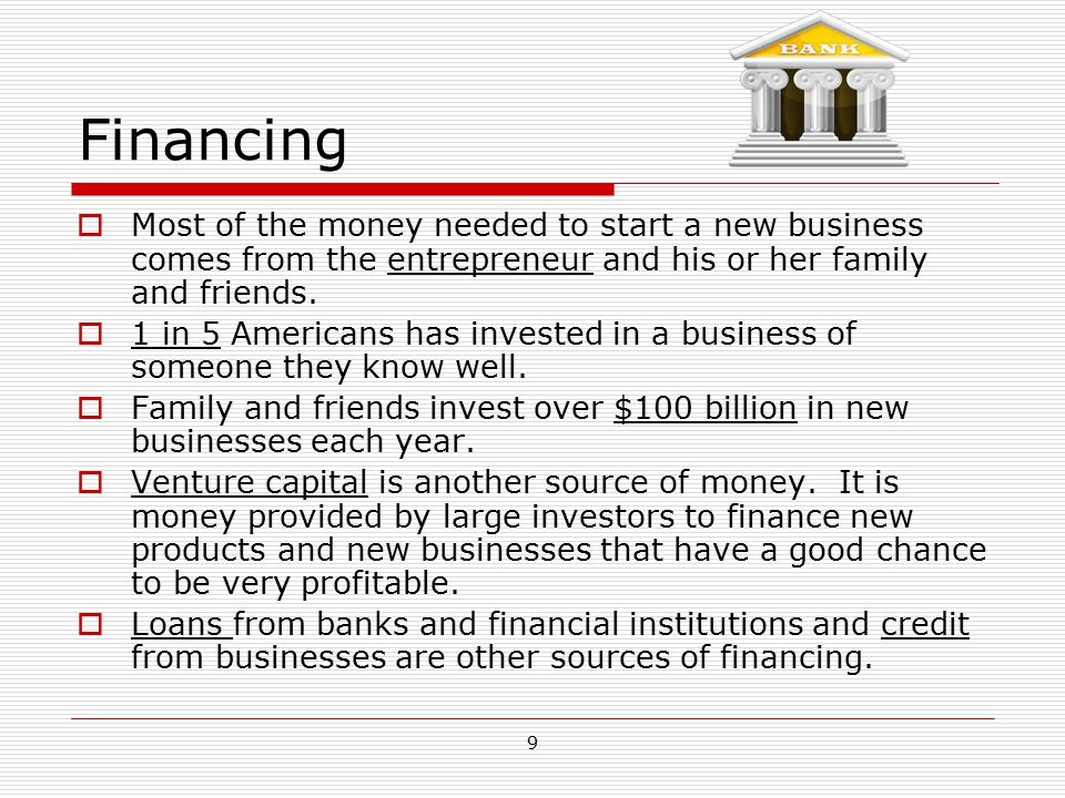 Financing Most of the money needed to start a new business comes from the entrepreneur and his or her family and friends.