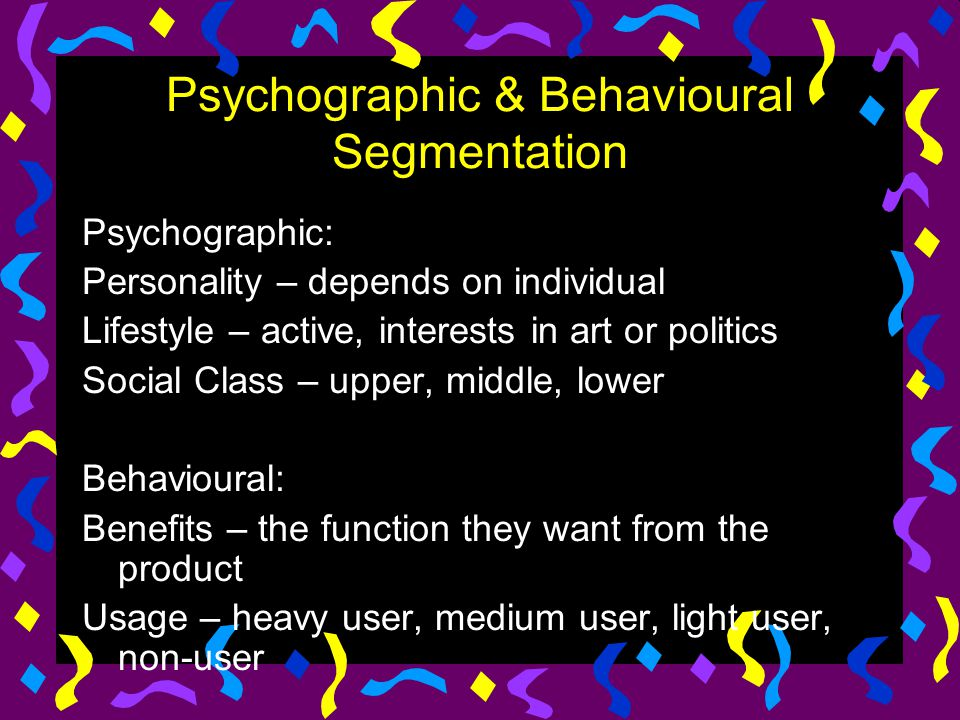Psychographic & Behavioural Segmentation